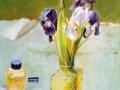 Stillleben mit Iris und Glas