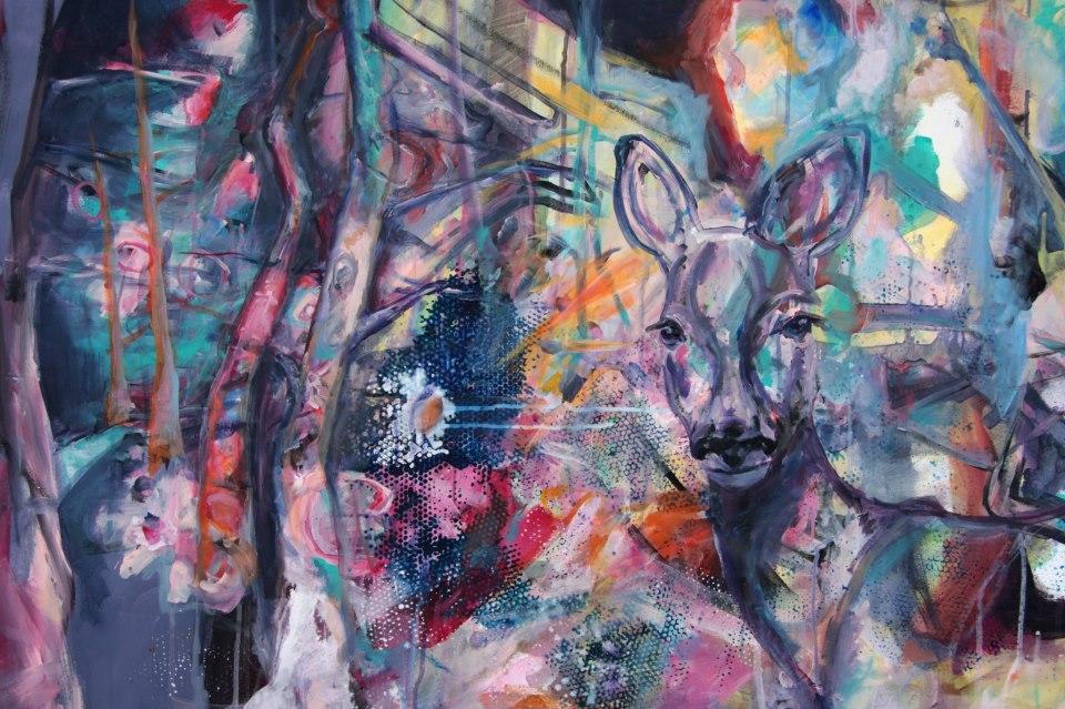 Katja heinroths acrylkunst auf leinwand artina magazin - Graffiti zimmerwand ...