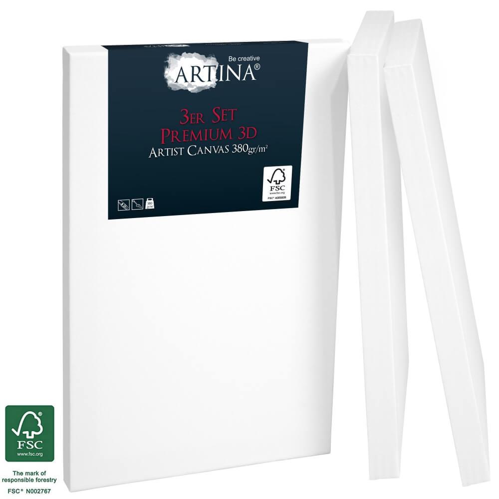 3er Set Artina 3D Premium Keilrahmen mit FSC® Siegel