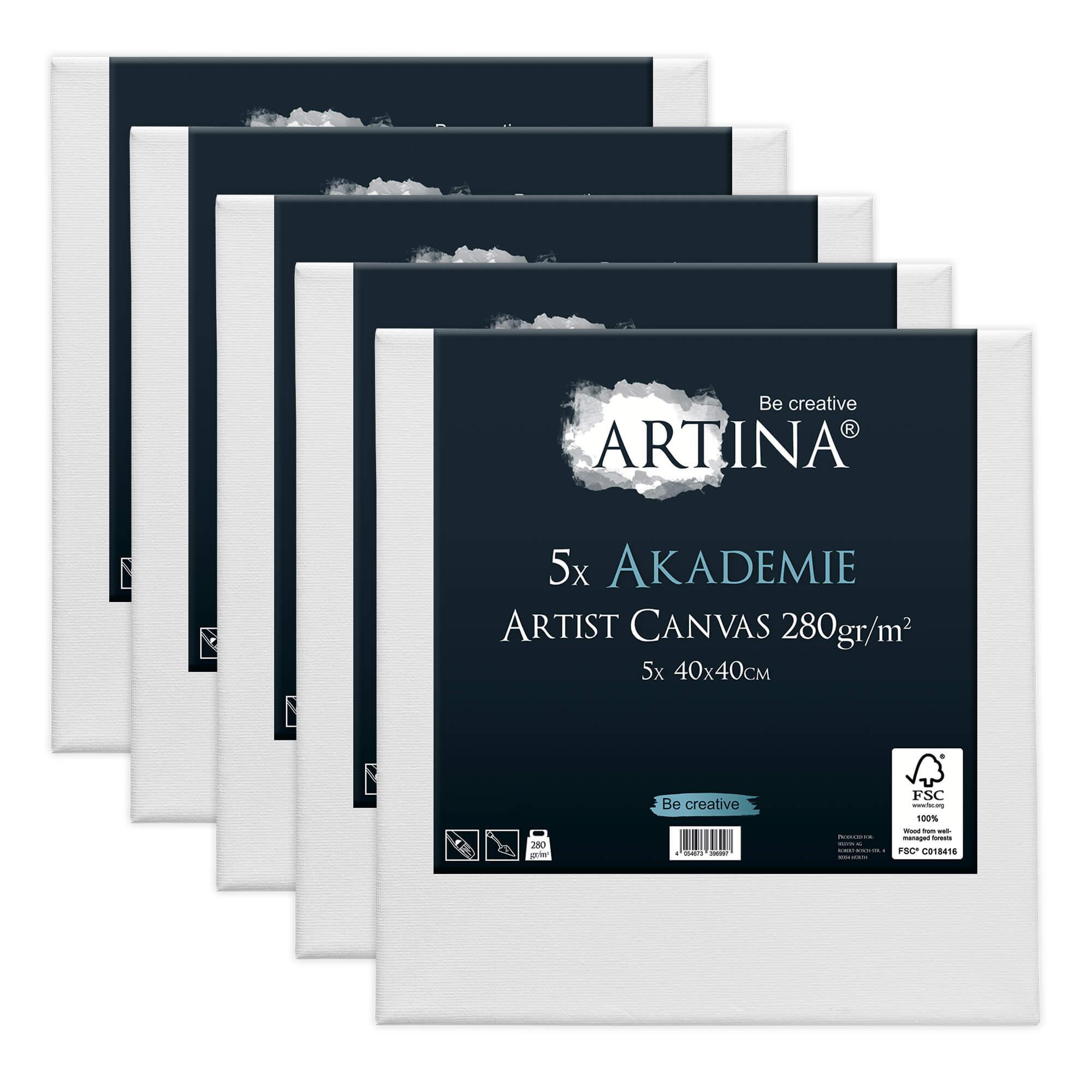 5er Set Artina Akademie Keilrahmen FSC®-zertifiziert 40x40 cm