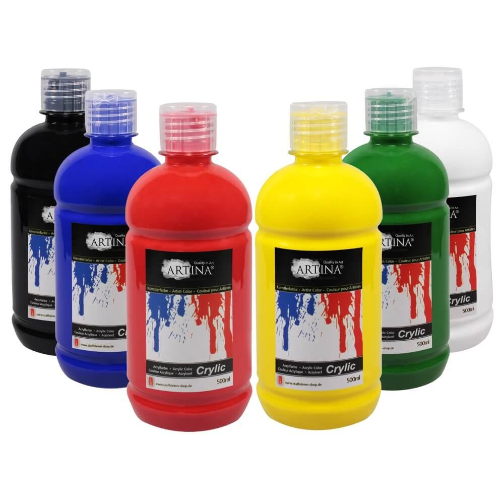Artina Crylic Acrylfarbe Tuben Set 6 x 500ml hochwertige Künstlerfarbe
