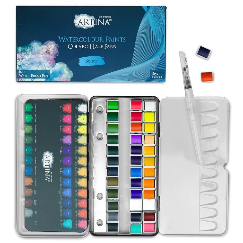 Artina Colaro Aquarellfarben Malkasten Set inkl. Wassertankpinsel