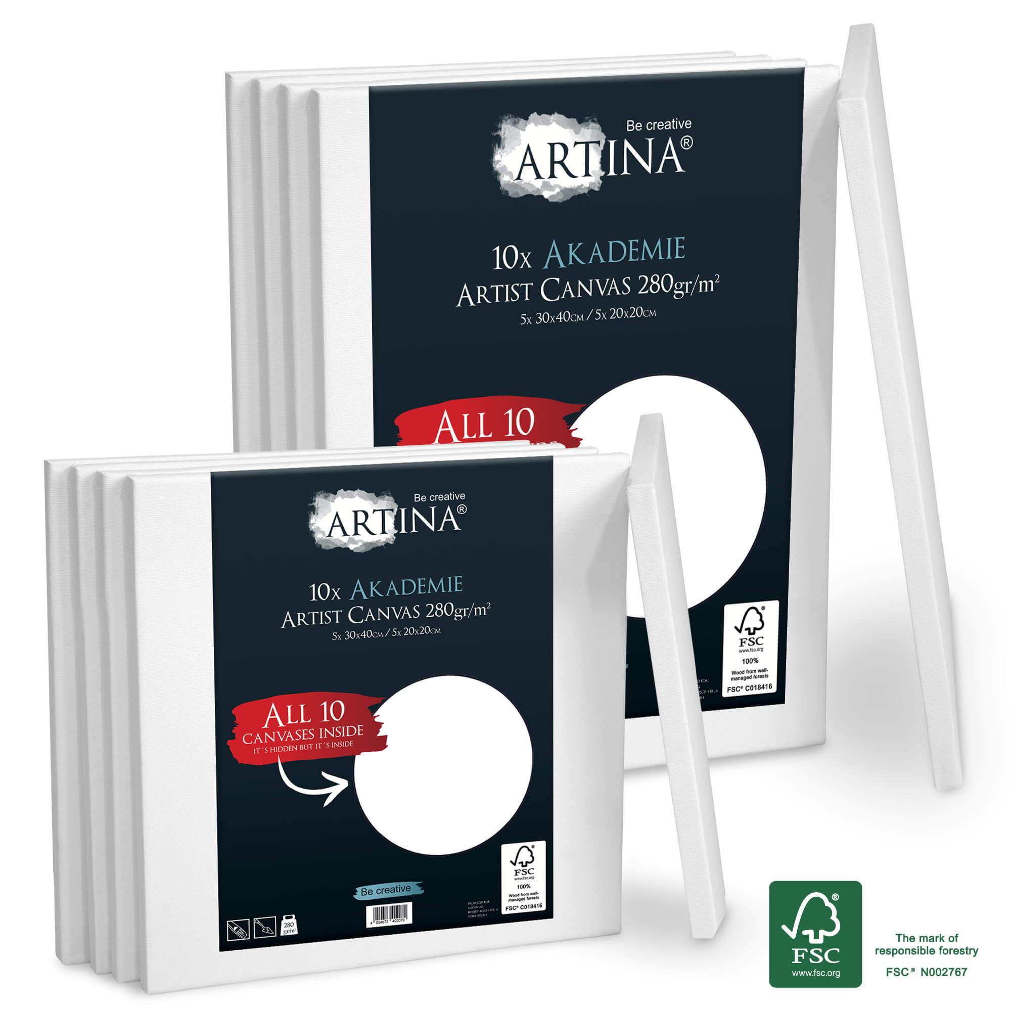 10er Set 20x20 & 30x40cm Artina Akademie Keilrahmen FSC®-zertifiziert