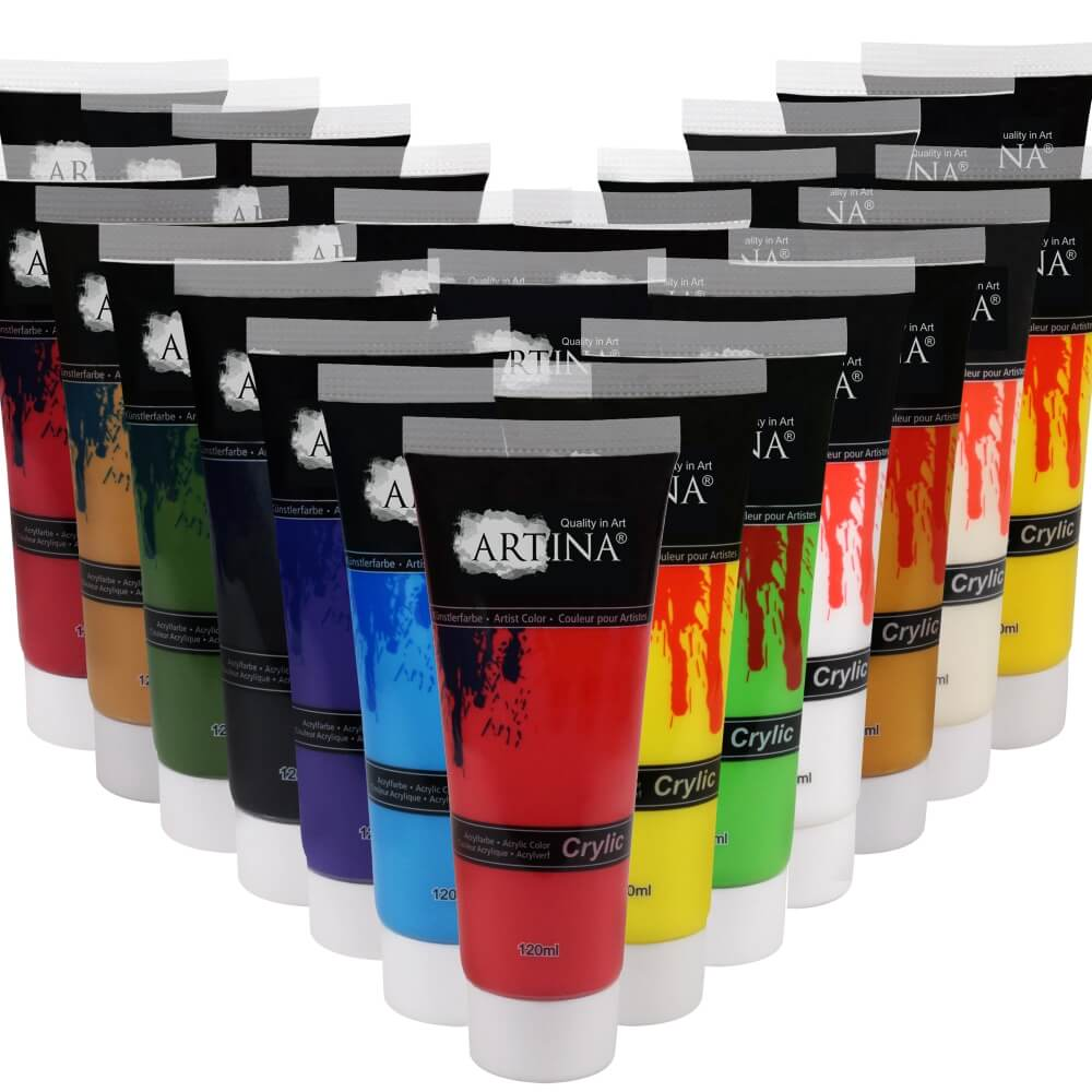 Artina Crylic Acrylfarben Set Künstler-Malfarbe mit 24 Tuben á 120ml