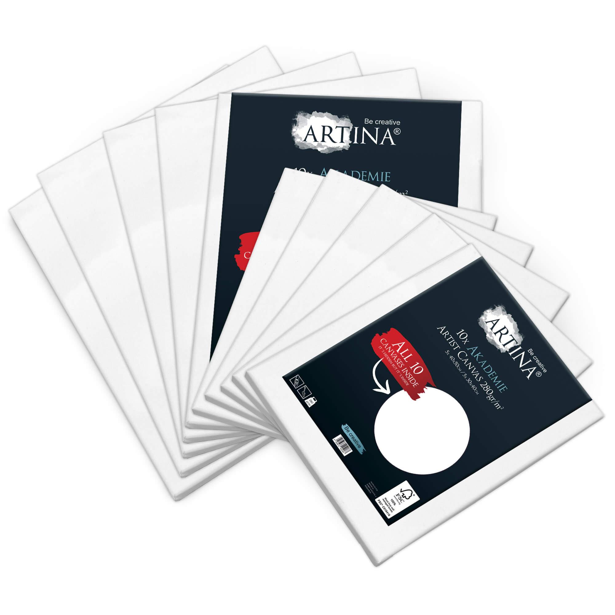 10er Set 30x40 & 40x50cm Artina Akademie Keilrahmen FSC®-zertifiziert