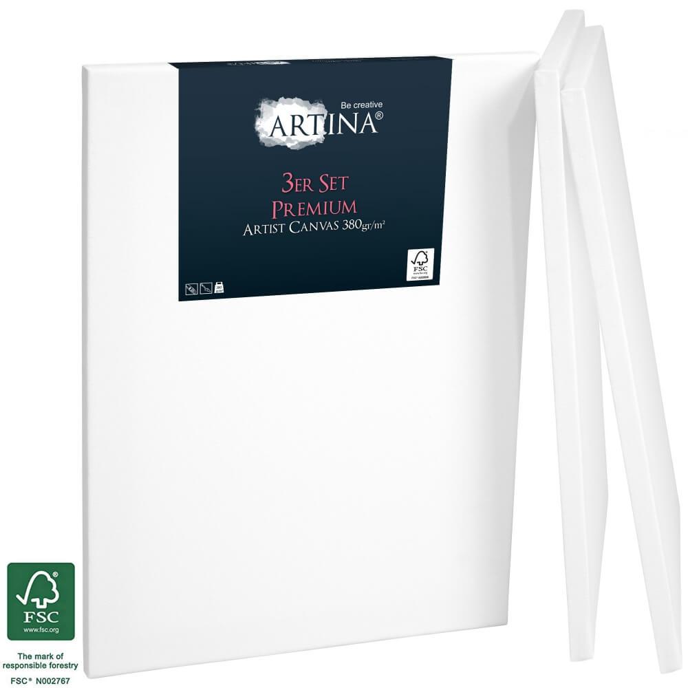 3er Set Artina Premium Keilrahmen mit FSC® Siegel