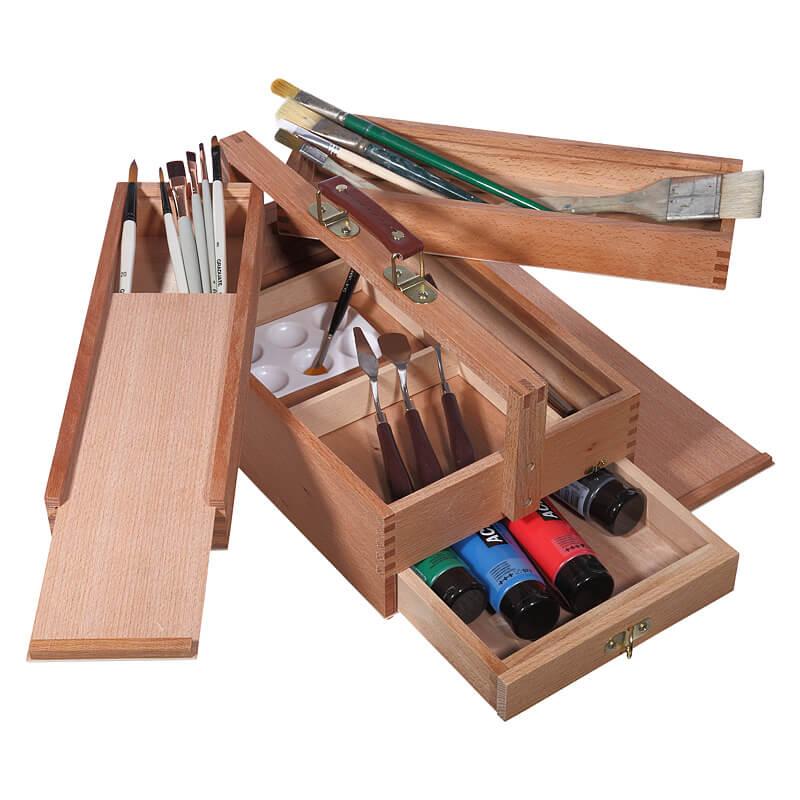 Artina Holz-Malkoffer Vannes mit Flügelfächer und Schublade