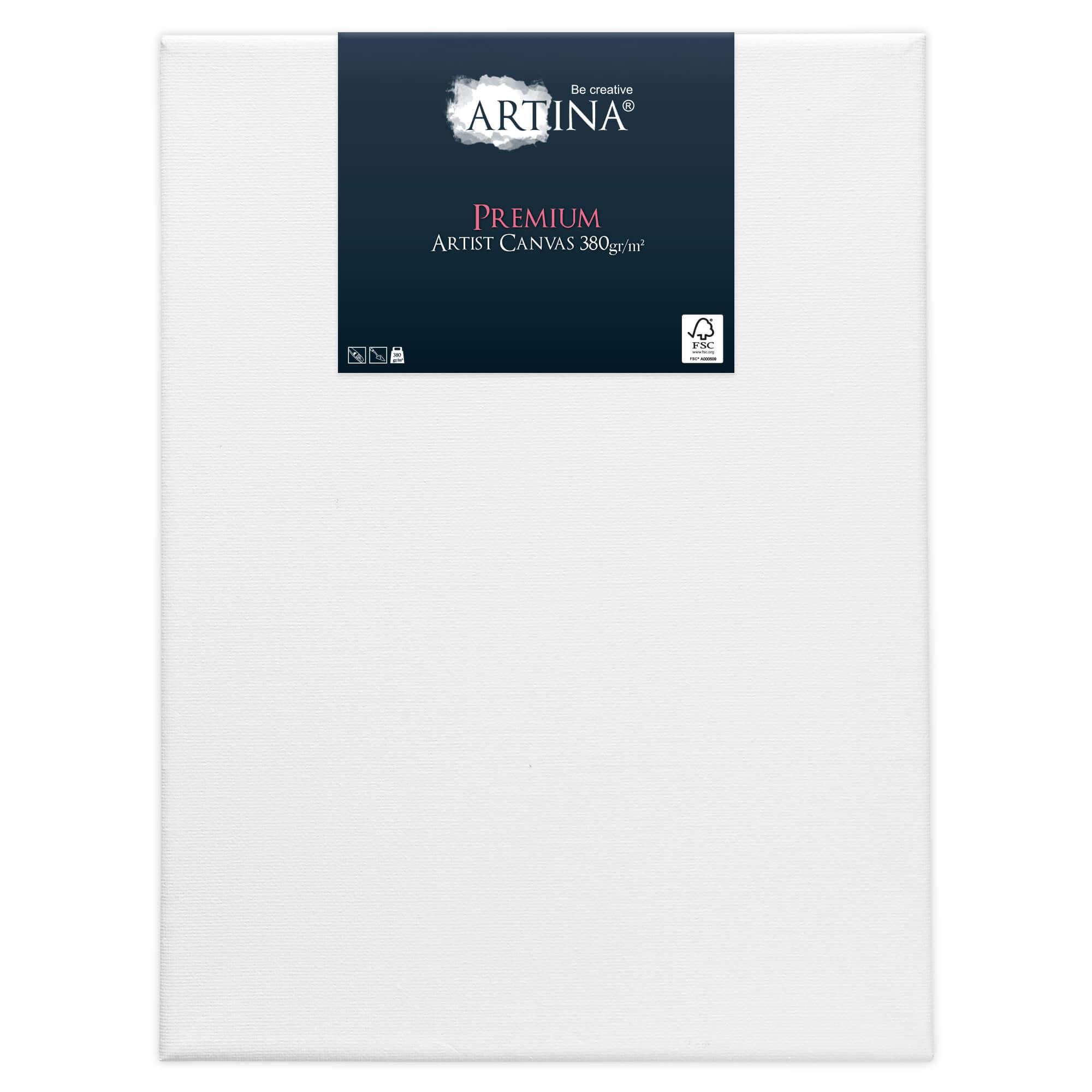 2er Set Artina Premium 380g/m² Leinwand auf Keilrahmen - 15x20 cm