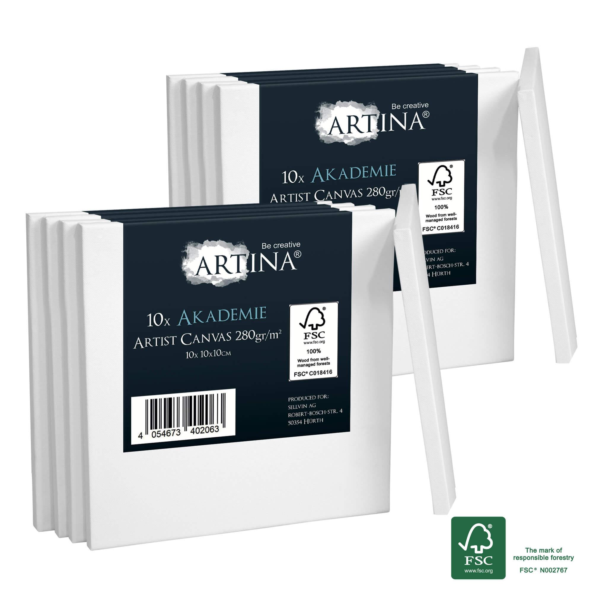 10er Set 10x10cm Artina Akademie Keilrahmen FSC®-zertifiziert
