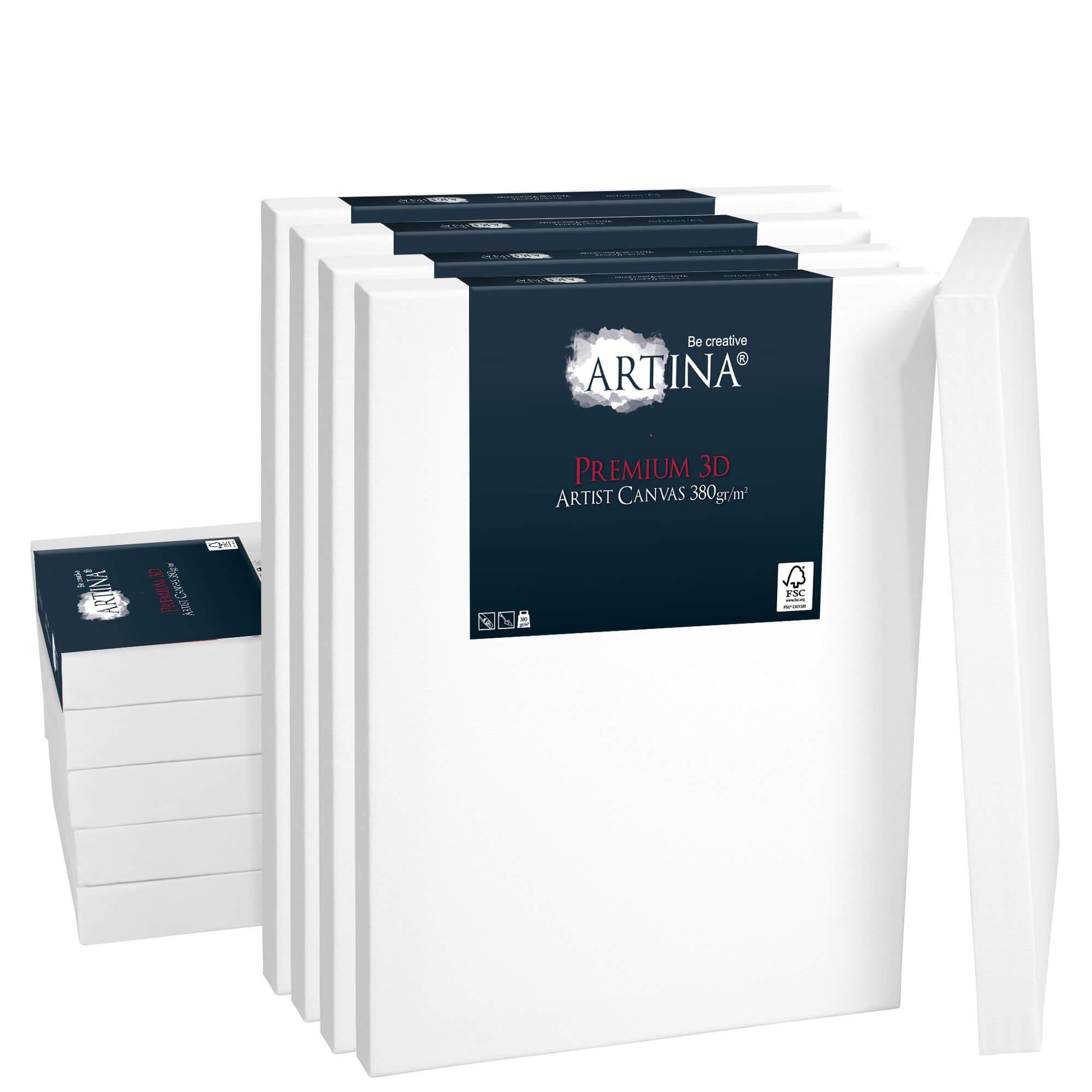 10er Set Artina 3D Premium 380g/m² Leinwand auf Keilrahmen -div Größen