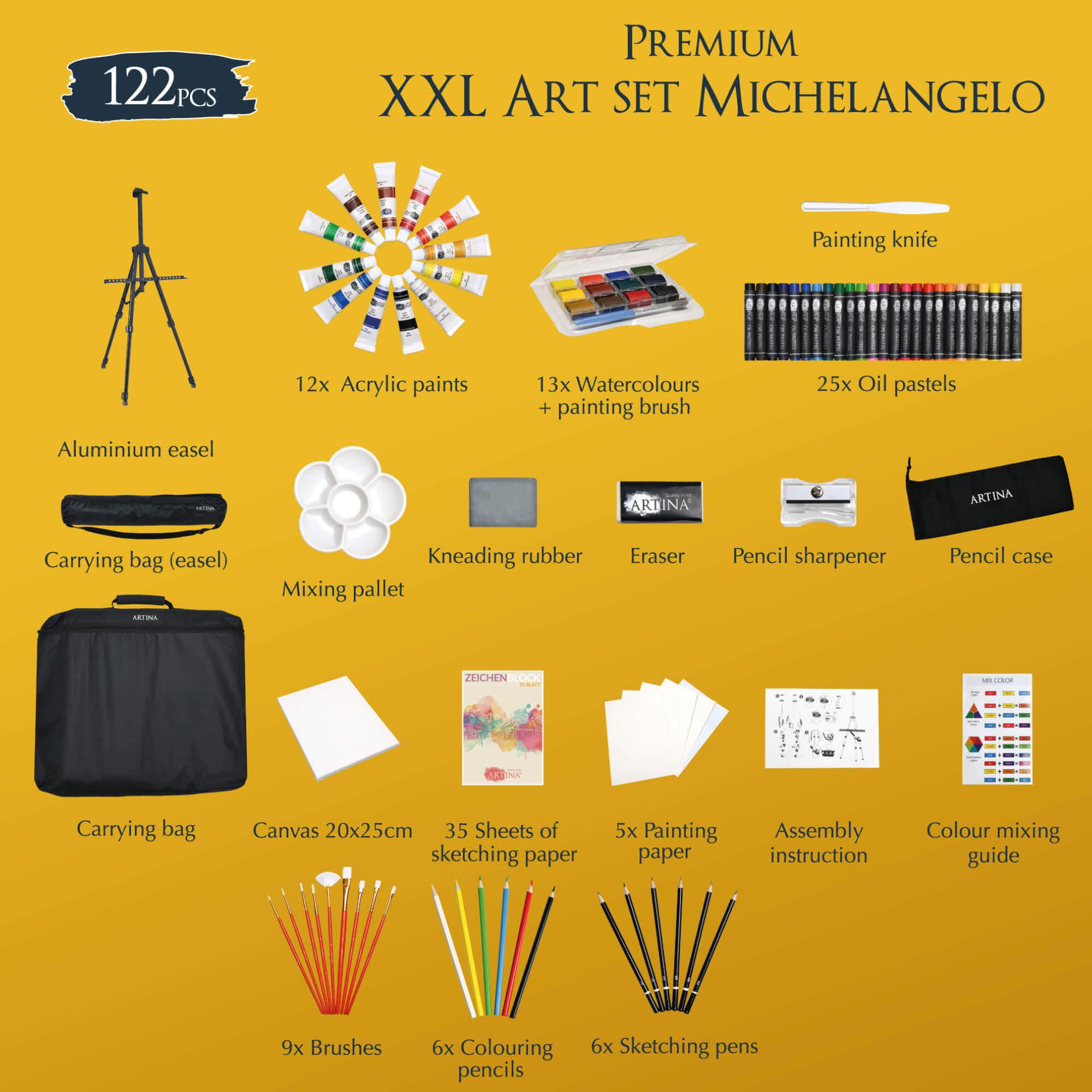 Artina 122tlg Malset Michelangelo mit Staffelei Pinselset Acryl