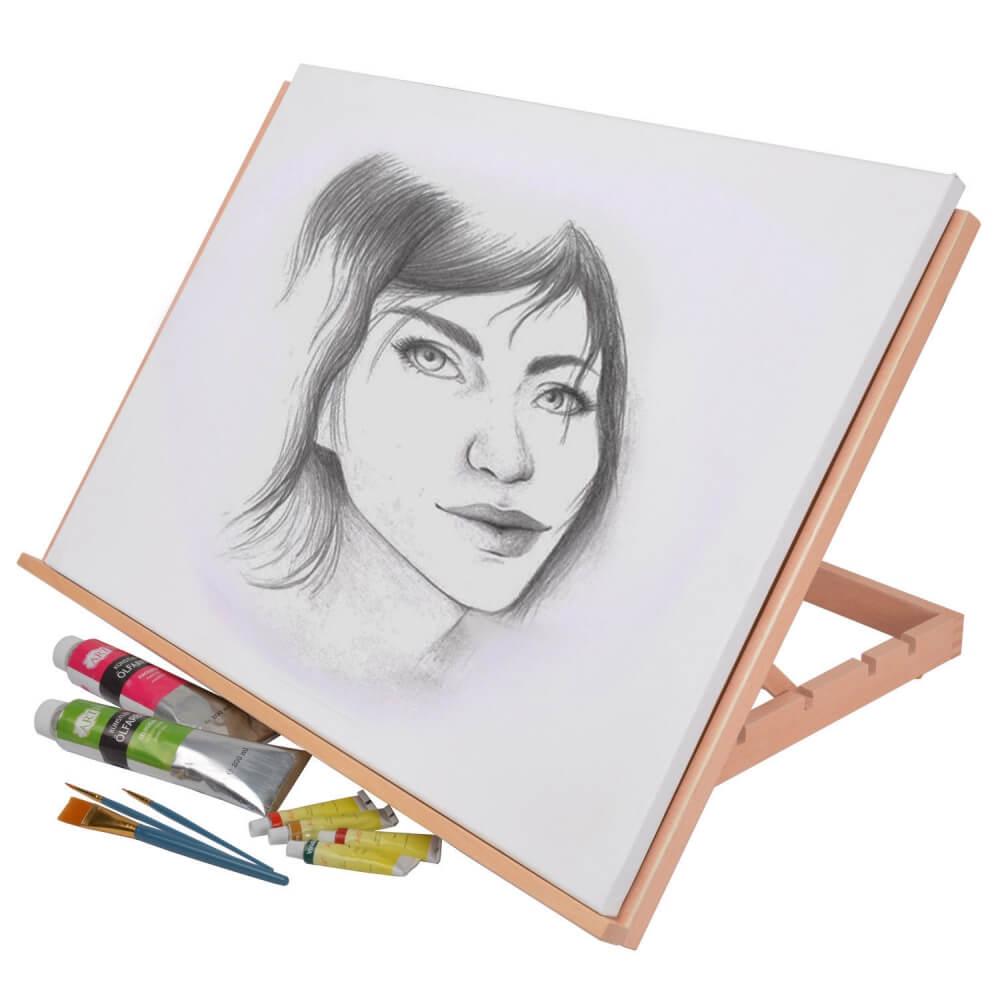 Artina Tischstaffelei Zeichenbrett Montpellier aus geöltem Buchen-Holz