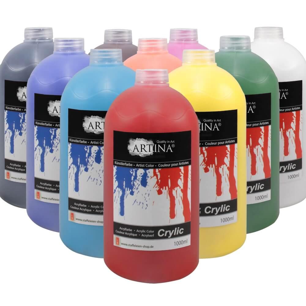 Artina Crylic Acrylfarbe Flaschen Set 10 x 1000ml