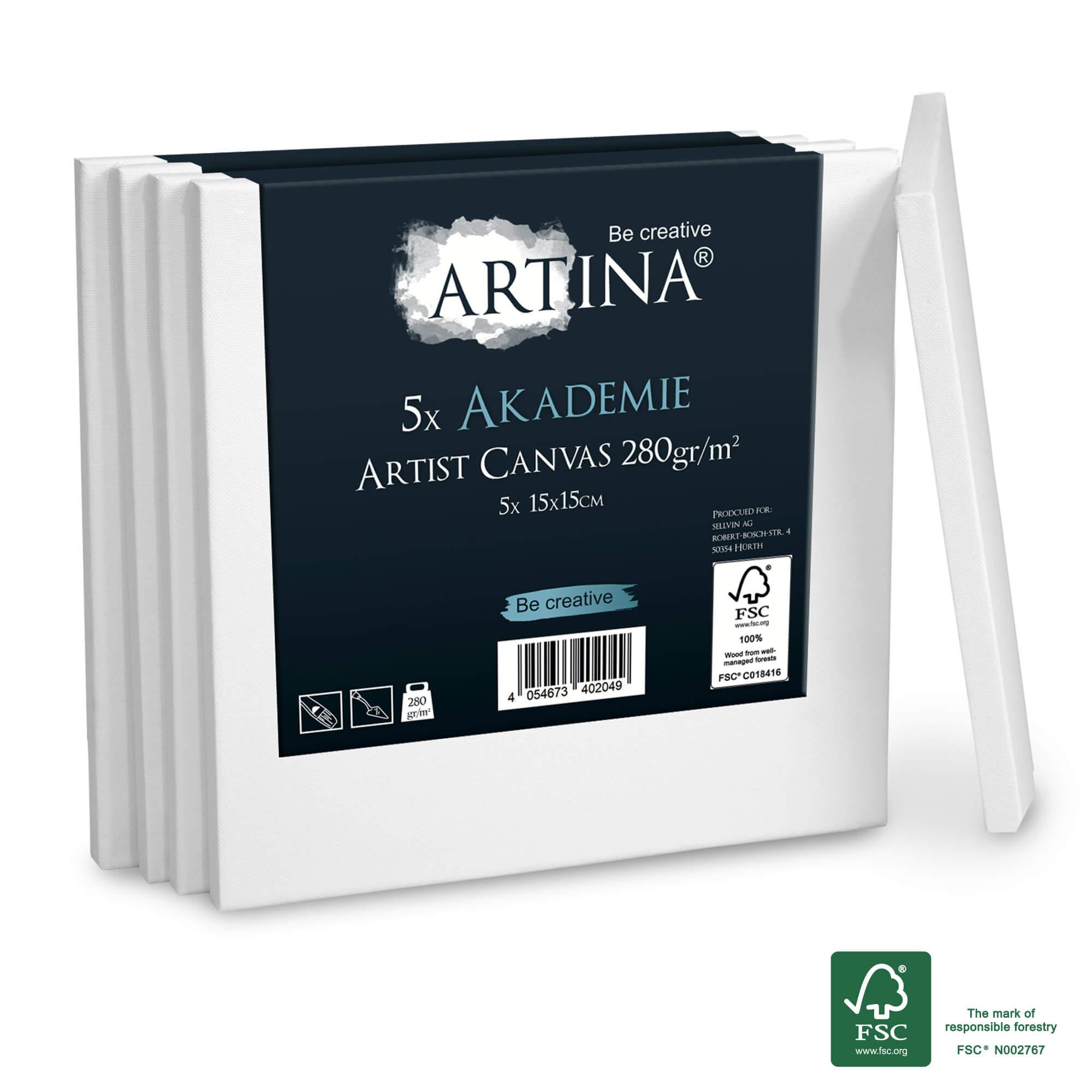 5er Set 15x15cm Artina Akademie Keilrahmen FSC®-zertifiziert