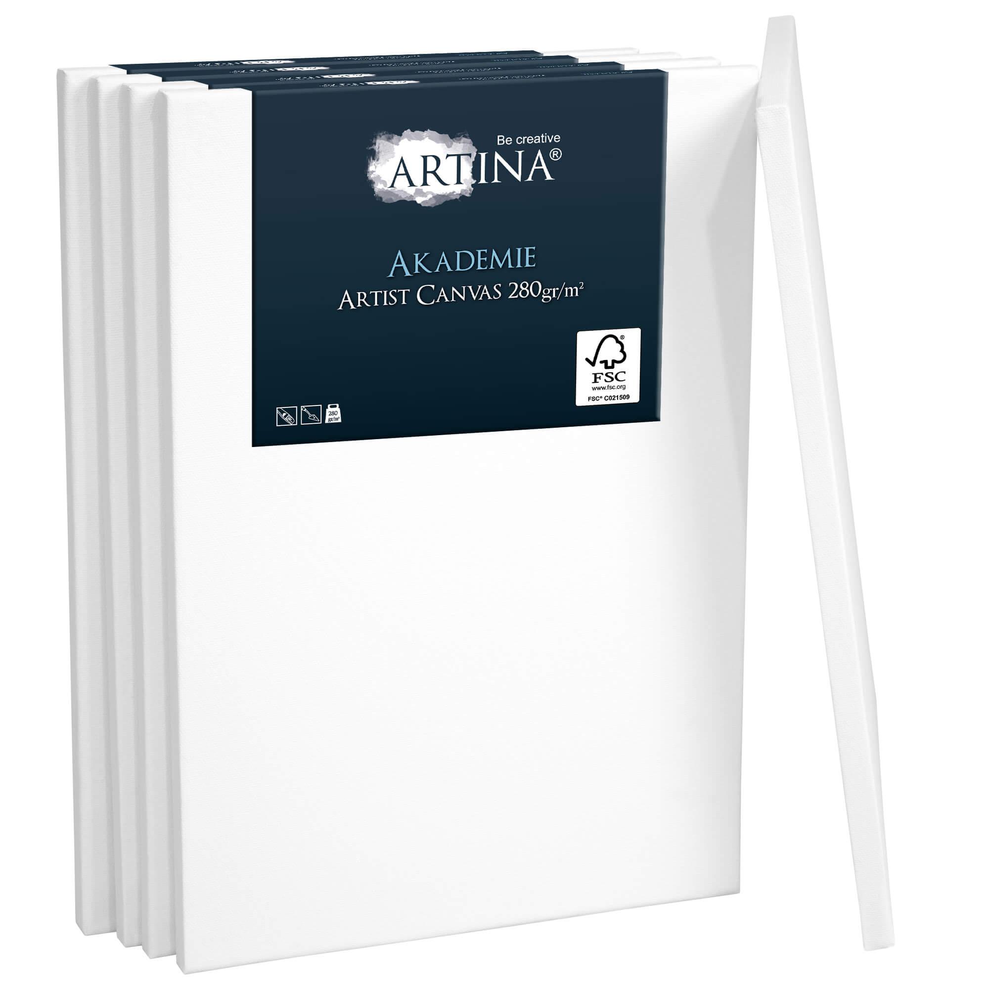 5er Set Artina Akademie Leinwand auf Keilrahmen 280g/m² – 20x50cm