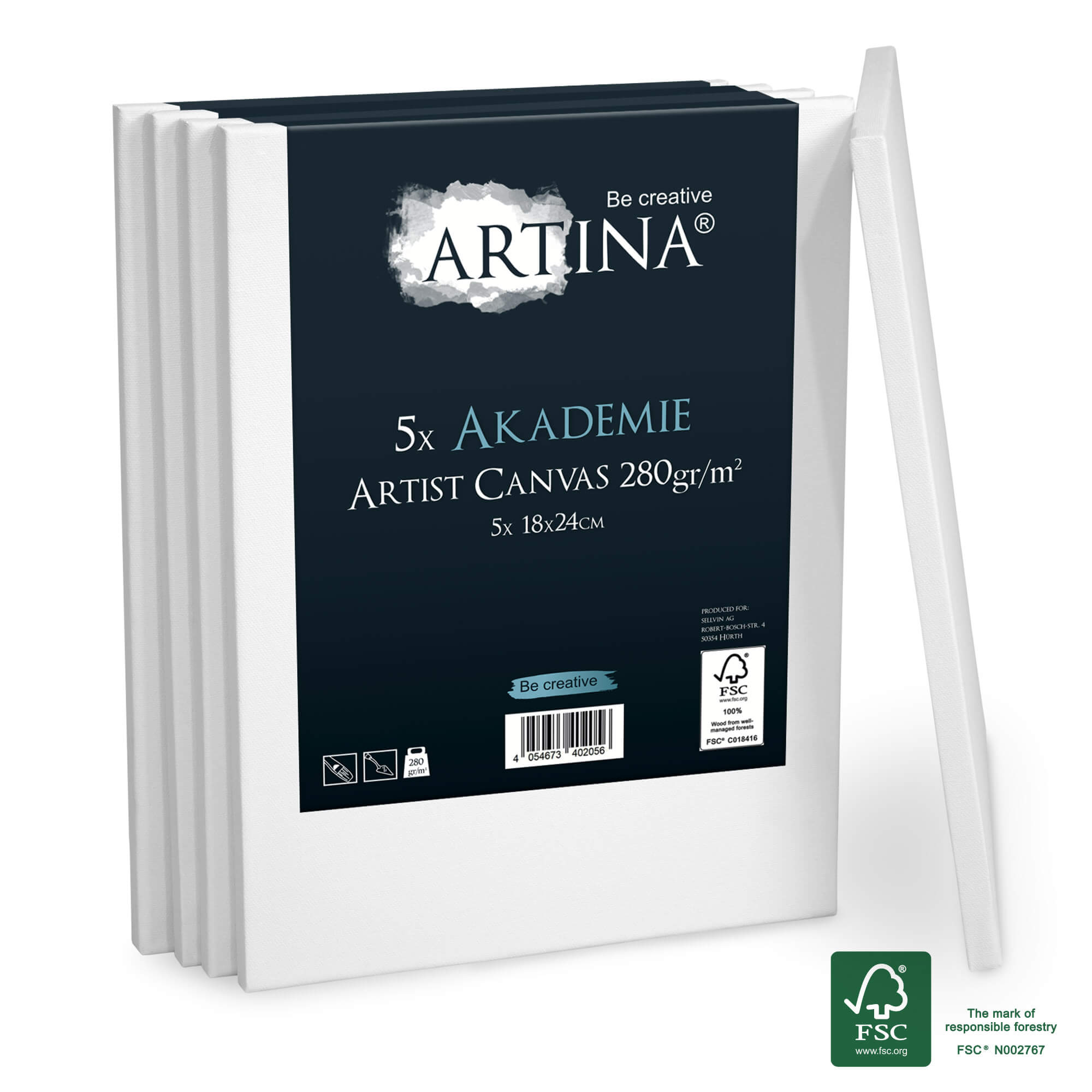 5er Set 18x24cm Artina Akademie Keilrahmen FSC®-zertifiziert